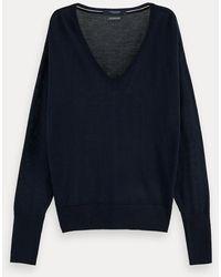 Scotch & Soda Sweater Van 100% Merinowol Met Lange Mouwen En V-hals - Blauw