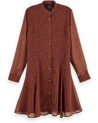 Scotch & Soda Drapey Peplum Style Long Sleeve Dress - Brown