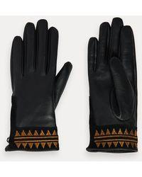Scotch & Soda Geborduurde Leren Handschoenen - Zwart