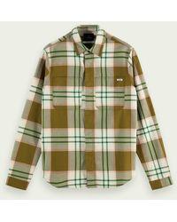 Scotch & Soda Middelzwaar Overhemd Van Biologisch Flanel - Groen