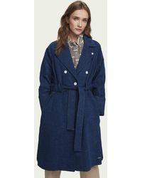 Scotch & Soda Long trench-coat en denim avec ceinture - Bleu