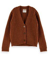 Scotch & Soda Wool-alpaca Blend Fuzzy Knit Cardigan - Brown