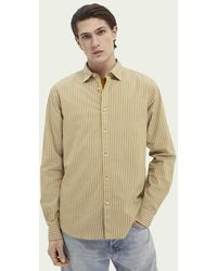 Scotch & Soda Regular Fit Gestreept Katoenen Overhemd - Geel