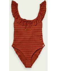 Scotch & Soda Gestreifter Badeanzug aus recyceltem Nylon - Rot
