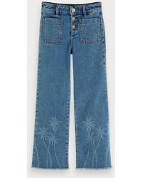 Scotch & Soda Jeans Met Palmboom-artwork - Blauw