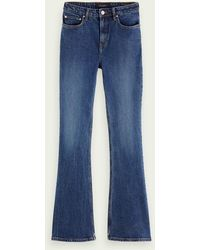 Scotch & Soda The Charm High-rise Flared Jeans – Take Me Out - Blauw