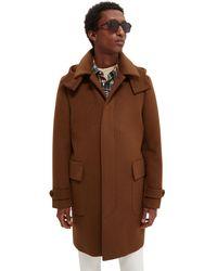Scotch & Soda Long Hooded Wool- Blend Coat - Brown