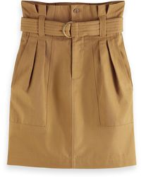 Scotch & Soda High-waist Cotton-linen Utility Skirt - Brown