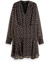 Scotch & Soda Long Sleeve Sheer Stripe Floral Print Dress - Black