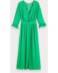 Scotch & Soda Midi-jurk Met V-hals - Groen