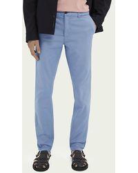 Scotch & Soda Mott Klassieke Garment-dyed Twill Chino - Blauw