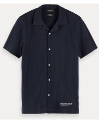 Scotch & Soda Piqué Overhemd Met Korte Mouwen - Zwart
