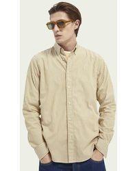 Scotch & Soda Gestreept Regular Fit Oxford-overhemd Van Biologisch Katoen - Bruin