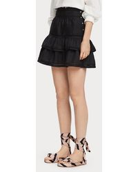 Scotch & Soda Ruffled Ramie Skirt - Black