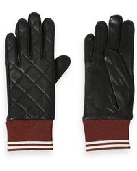 Scotch & Soda Quilted Leather Gloves - Black