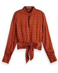 Scotch & Soda Long Sleeve Waist Tie Top - Brown