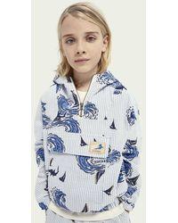 Scotch & Soda Sweat-shirt à capuche imprimé avec demi-zip - Bleu
