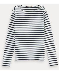 Scotch & Soda Bretons T-shirt Met Lange Mouwen En Ritsdetail - Rood