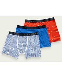 Scotch & Soda 3-pack Boxershorts Van Een Katoenmix - Blauw