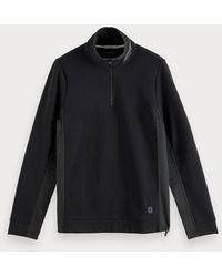 Scotch & Soda Sweater Met Halflange Rits - Zwart