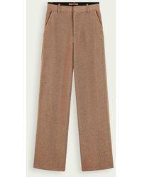 Scotch & Soda Pantalon stretch à jambes larges avec métallisés - Marron