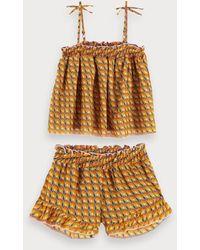 Scotch & Soda Pyjamaset Met Print - Oranje