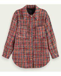 Scotch & Soda Tweed Shirtjack Van Een Wolmix - Rood