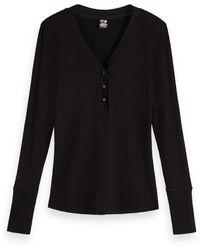 Scotch & Soda Long Sleeve V-neck Grandad T-shirt - Black