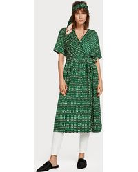 Scotch & Soda Midi Satin Wrap Dress - Green