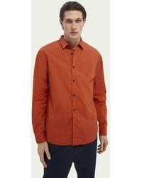 Scotch & Soda Regular Fit Overhemd Van Katoenen Poplin - Rood