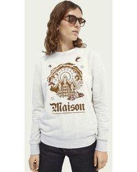 Scotch & Soda Sweater Met Ronde Hals En Artwork Van Een Katoenmix - Wit