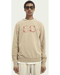 Scotch & Soda Logosweater Met Ronde Hals Van Biologisch Katoen - Naturel