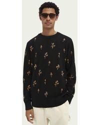 Scotch & Soda Sweater Met Print En Ronde Hals - Zwart