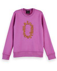 Scotch & Soda Embroidered Cotton-blend Artwork Sweatshirt - Purple