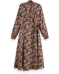 Scotch & Soda Floral Print Belted Midi Wrap Dress - Black