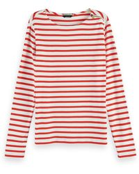 Scotch & Soda Zip Detail Long Sleeve Breton Stripe T-shirt - Red