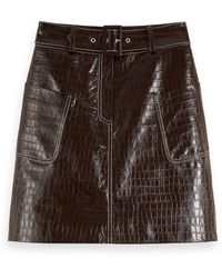 Scotch & Soda Belted Patent Leather Croc-effect Mini Skirt - Brown