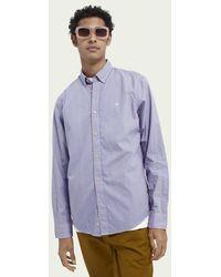 Scotch & Soda Gestreept Regular Fit Oxford-overhemd Van Biologisch Katoen - Paars