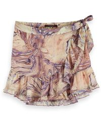 Scotch & Soda Marbled Wrap Around Mini Skirt - Pink