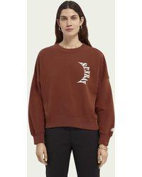Scotch & Soda Sweater Met Grafische Print - Bruin