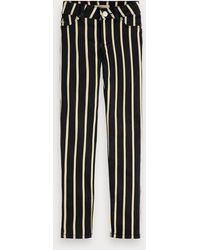 Scotch & Soda Gestreepte Skinny Jeans - Zwart