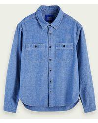 Scotch & Soda Chambray Workwear-Shirt aus Bio-Baumwolle - Blau