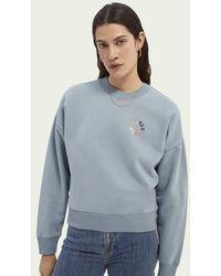 Scotch & Soda Relaxed Fit Sweater Van Biologisch Katoen - Blauw