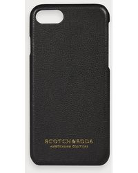Scotch & Soda Coque iPhone avec revêtement en cuir - Noir