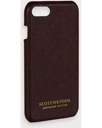 Scotch & Soda Iphone 8-hoesje Met Leren Coating - Bruin