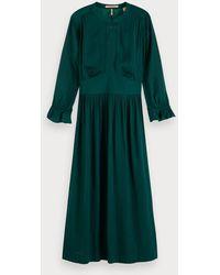 Scotch & Soda Satijnen Midi-jurk - Groen
