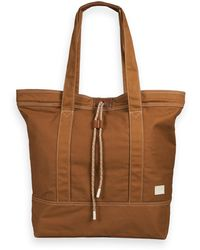 Scotch & Soda Leather-trimmed Canvas Bag - Brown