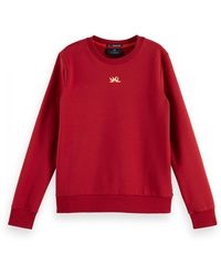 Scotch & Soda Long Sleeve Cotton-blend Sweatshirt - Red