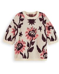 Scotch & Soda Relaxed Fit Short Sleeve Knit Pullover - Pink