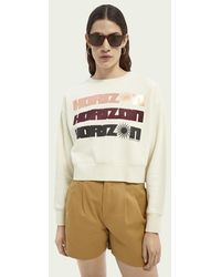 Scotch & Soda Cropped Sweater Met Grafische Print - Naturel